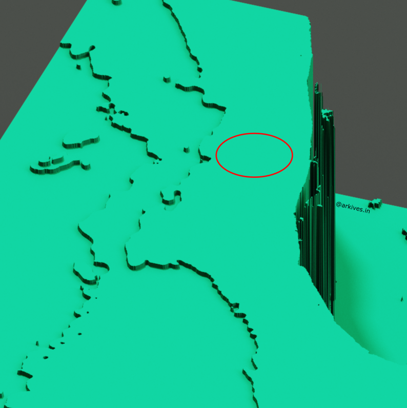 GEBCO_2020 Bathymetry data 3D visualised - Indian subcontinent